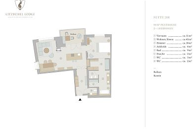 Floor plan lodge 301 -> for 2 + 1 persons