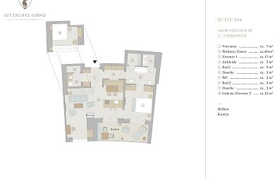 Floor plan lodge 304 -> for 2 + 2 persons